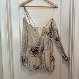 Free People Cream & Purple Cold Shoulder Knit Top
